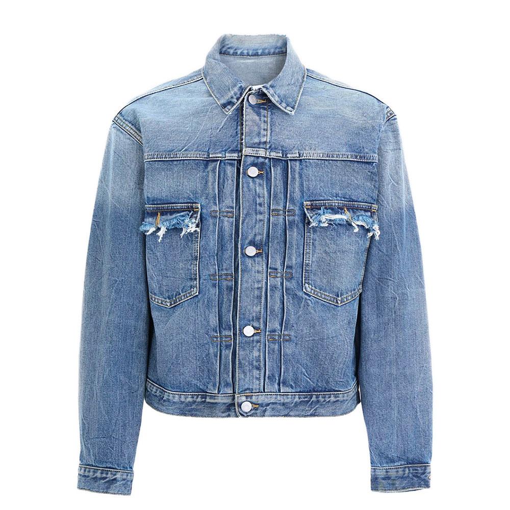 Cette veste en denim Maison Martin Margiela a une coupe ajustée avec des détails effet déchiré sur les poches plaquées avant et le dos du col.